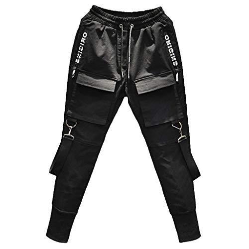 Overdose Pantalones Cargo Hombre Moda Casual Negra Pantalon Deportivos con Bolsillo Pantalones Elasticos Slim Fit