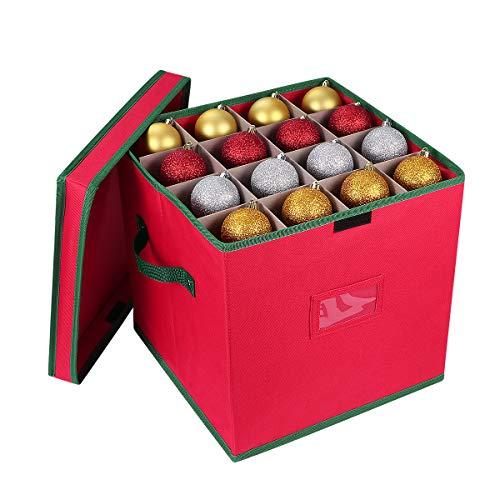 Cabilock Weihnachtsschmuck Aufbewahrungsbox für Weihnachtsdeko Reißfester 600D Oxford Aufbewahrungsbehälter mit Würfeldeckel für Holiday Dekorationen Zubehör (rot)