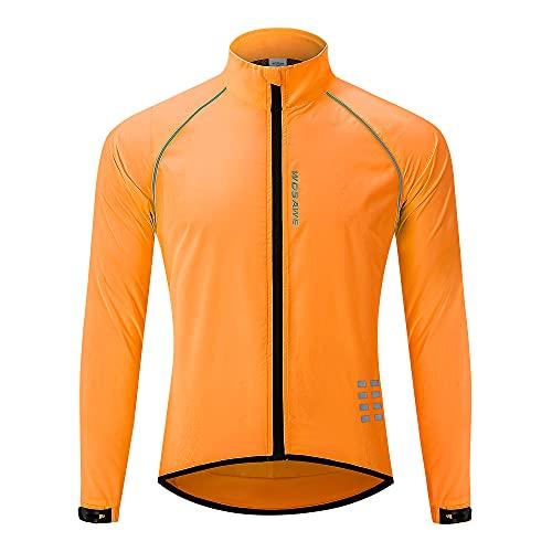 WOSAWE Chaqueta de ciclismo para correr impermeable y reflectante para hombre, cortavientos ligera, chaqueta de ciclismo a prueba de viento (naranja XXL)