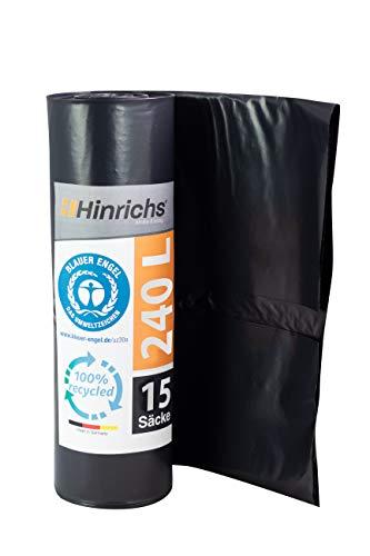 Hinrichs Bolsas de Basura Grandes y Resistentes - Bolsas Basura 240 litros - Rollo de 15 Bolsas Basura Grandes - 70 μ - LDPE - Negro