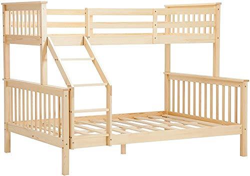 Litera cama triple, 3 pies individual 4 pies cama doble de madera para adultos y niños,Natural wooden color