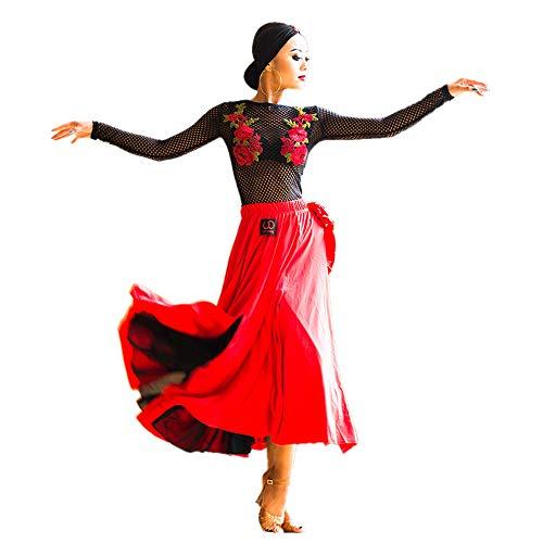 社交ダンスドレス ラテンドレス パソドレス パソドブレ パソスカート 競技ダンス デモンストレーション パーティーUUA28 (L)