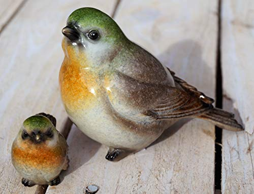 Rostalgie 2 TLG. Keramik Vögel zum Stellen Garten Dekoration Tierfigur Geschenk (Keramik, Vögel grün/braun)