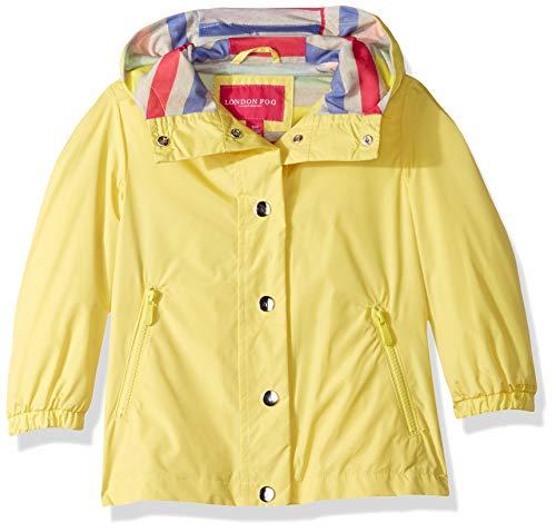 LONDON FOG Girls' Little Lightweight Jersey Lined Windbreaker Jacket, Miami Yellow, 6X