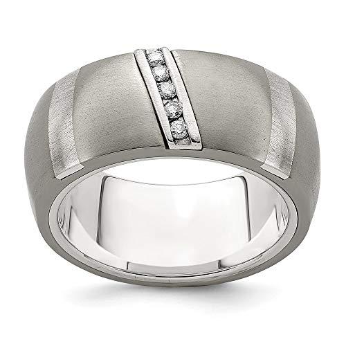 Edward Mirell Titanium 925 Sterling Silver .10ctw Diamond 10mm Band Ring...