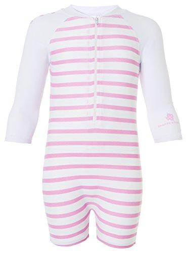 Snapper Rock Baby Mädchen UPF 50+ UV schützend warm Langarm Badeanzug für Kinder Weiß/Rosa 12-24 Monate, 86-92cm