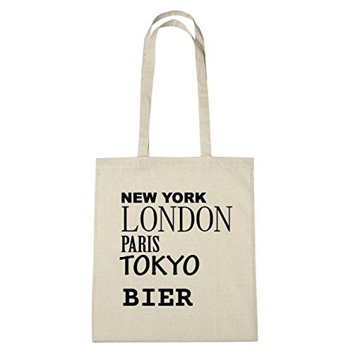JOllify BIER Umwelttasche Jutetasche B6179jute - Farbe: natur: New York, London, Paris, Tokyo