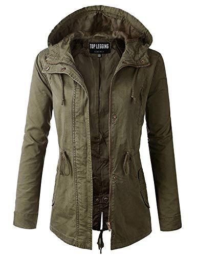 Anorak Jacket Women, Lightweight, Long Military Cargo Parka, Regular & Plus Size OLIVE Med