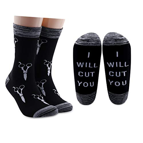 LEVLO Funny Hairdresser Gift Hair Stylist Socks I Will Cut You Cotton Socks Cosmetology Graduation Gift (2 Pairs/Set)