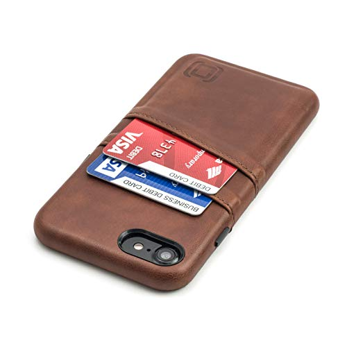 Dockem Funda Tipo Cartera para iPhone SE 2, iPhone 8/7 con Placa de Metal Integrada para Montaje Magnético y 2 Ranuras para Tarjetas de Crédito (M2, Marrón, Exec Piel Sintética Lisa)