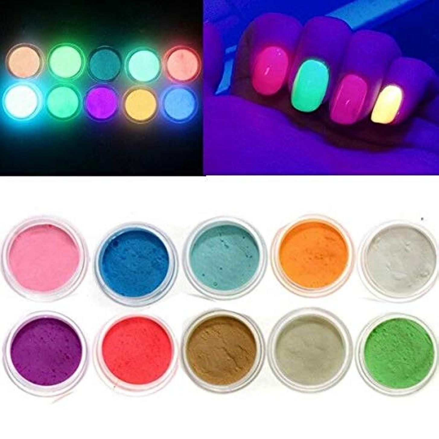 大脳過言誤解FidgetGear 10色は暗い釘の蛍光タトゥーのアクリルの粉の装飾で光ります