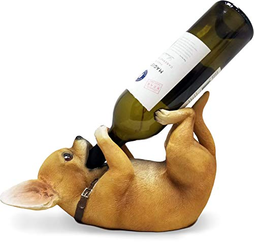 powerful DWK – Tiny Tippler – Chihuahua Gazzler Table Wine Holder Display Caddy Puppy Dog Figurine and Bottle Novelty Home Decoration Kitchen Accessories Dining Accent 11 ""