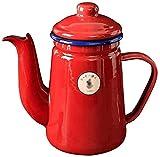 MQJ Hervidor de 1 Litro Tetera Roja Cafetera Potes de Té Tetos Esmalte Fogones para Inducción Cocina de Cerámica de Gas