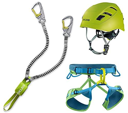 EDELRID Klettersteigset Cable Kit Lite 6.0 + Gurt Jay III Größe S + Kletter-Helm
