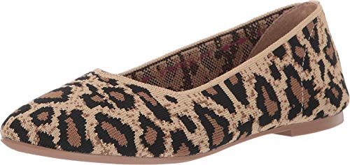 Skechers womens Cleo - Claw-some Leopard Print Engineered Knit Skimmer Ballet Flat, Natural, 7.5 US