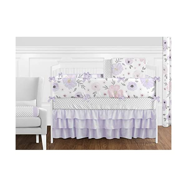 Sweet Jojo Designs Lavender Purple, Pink, Grey and White Shabby Chic Watercolor Floral Baby Girl Nursery Crib Bedding Set with Bumper – 9 pieces – Rose Flower Polka Dot
