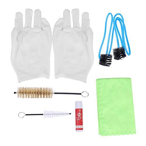 Dilwe 6 in1 Trompetenreinigungsset, Trompeten Posaunen Reinigung Werkzeug mit Reinigungstuch Pinsel Handschuhe