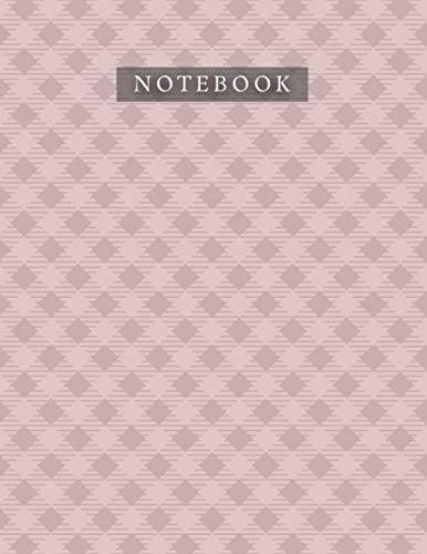 Notebook Rosy Brown Color Small Cross Line Baby Elephant Pattern Background Cover: 21.59 x 27.94 cm, 8.5 x 11 inch, Planner, 110