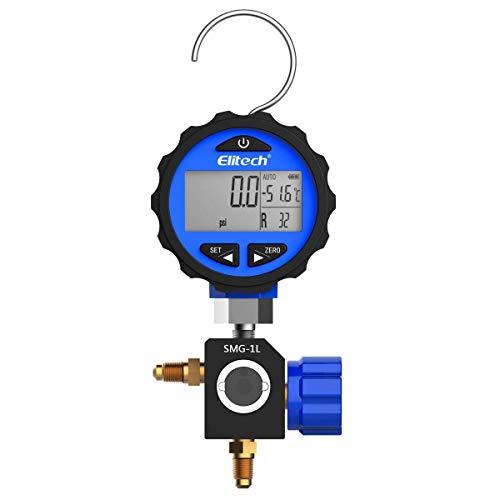 Elitech SMG-1L Refrigeration HVAC Digital Pressure Gauge for 87+ Refrigerants with Backlight -14.5-500 PSI