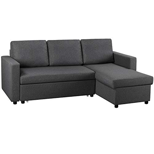 YAHEETECH Convertible Sectional Sofa Couch w/Chaise L-Shaped Reversible Sofa & Bed w/Pull Out Bed & Storage 4-seat Modern Linen Fabric Reversible Chaise Sleeper for Limited Spaces Gray