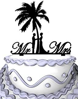 Meijiafei Bride and Groom Under Palm Tree Cursive Mr and Mrs Wedding Cake Topper