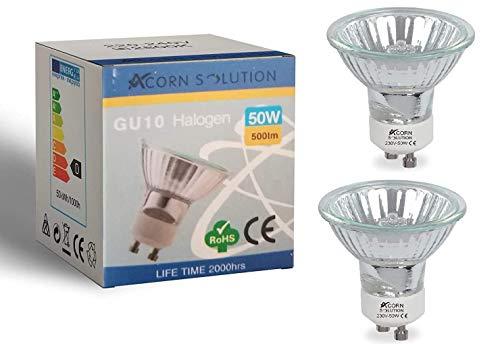 AcornSolution 2 x Halogen Reflektor Halogenlampe GU10 50W 230V warmweiß dimmbar 35° flood 50 Watt [Energieklasse D]