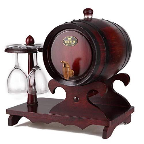 Whiskyfass, Weinfass Eiche Massivholz Weinglasständer Kein Glas Rotwein Schnaps Bier Haushalt Tragbar Mobil Tingting (Farbe: Braun, Größe: 3L)