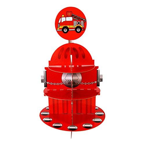 Hydrant Cupcake-Ständer & Pick Kit, Feuerwehr Geburtstag, Feuerwehrauto, Party, Dekorationen, 3Etagen Karton Feuerwehrmann Cupcake-Ständer, Party Supplies, Kuchen Dekorationen