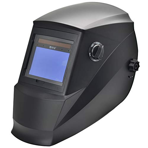 """Antra AH6-660-0000 Auto Darkening Welding Helmet Large Viewing 3.86X2.50"""" Wide Shade Range 4/5-9/9-13 Engineered for TIG MIG/MAG MMA Plasma Grinding, Solar-Lithium Dual Power, 6+1 Extra Lens Covers"""