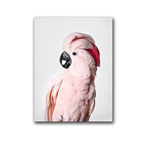 HYFBH Leinwand Rosa Kakadu Vogel Kunst Wandbilder Tier Papagei Fotografie Leinwand Kunstdrucke Und Poster Home Room Decor-40x60 cm Mit Rahmen