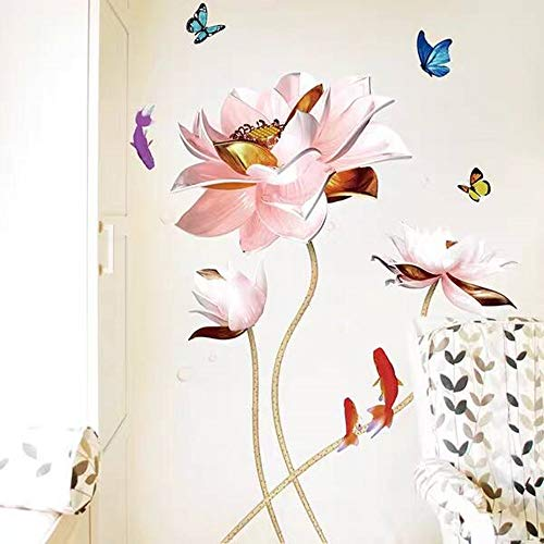 Style chinois Lotus Fleur Vinyle Autocollant Mural Affiche Vintage Salle De Bains Chambre Décor À La Maison Stickers Stikers Mural