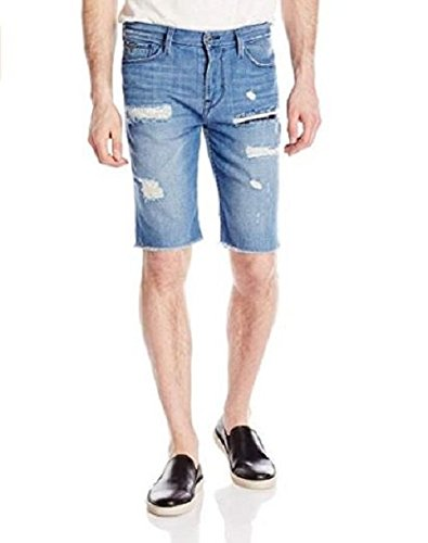 GUESS Men's Raw Hem Slim Denim Short, Essential Blue Wash, 40 R