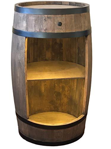 weeco Bar Schränk LED. Weinregal, Weinschrank im Retro Stil. Höhe 81cm. Fass mit Massivholz - 2