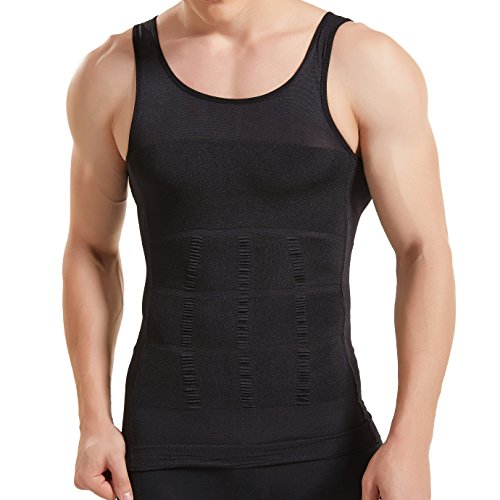 HANERDUN Kompressionsunterwäsche | Herren Tanktop | figurformendes Unterhemd für Männer | Sport Fitness | T-Shirt Bodyshaper Bauchweg,Schwarz,M