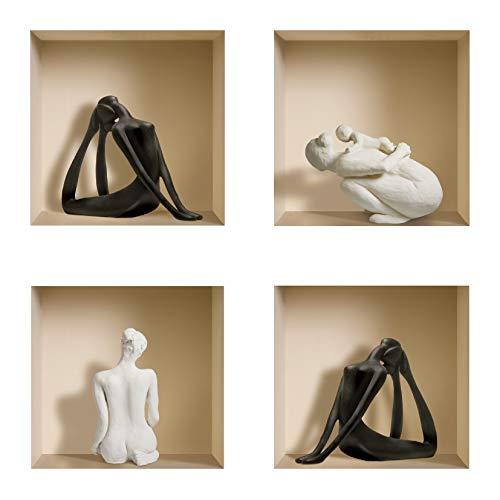DIY Pegatinas Etiquetas para Pared Desmontables de Vinilo 3D Arte Mágico de Nisha, Conjunto de 4, Yoga negro y esculturas blancas