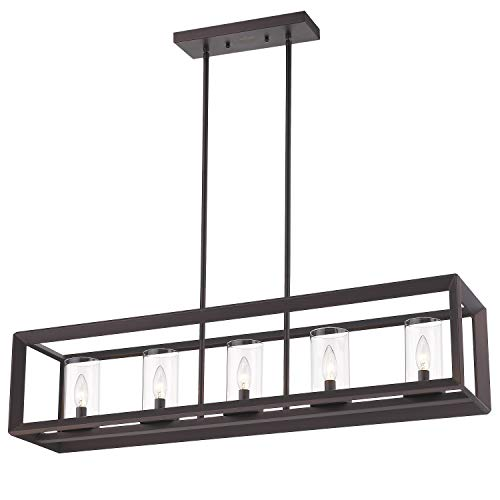 Emliviar 5-Light Kitchen Island Lighting, Modern Domestic Linear Pendant Light Fixture, Oil Rubbed Bronze Finish with Clear Glass Shade, 2074LP ORB
