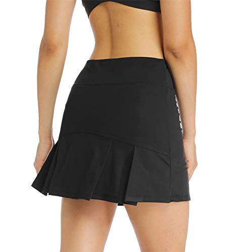 Ibeauti Faldas de tenis para mujer, plisadas en la espalda, con 3 bolsillos, pantalones cortos de malla para correr, entrenamiento activo, Negro, S