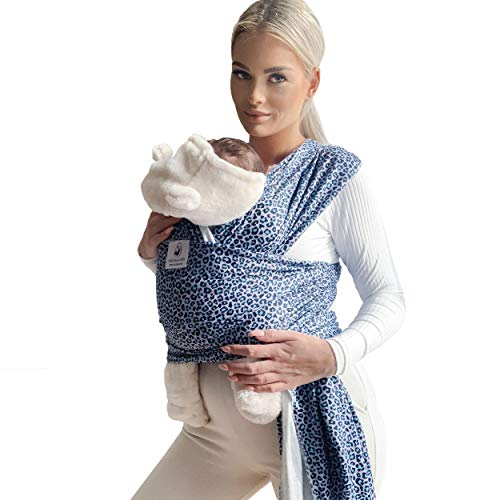 Fastique Kids® Tragetuch - elastisches Babytragetuch für Früh- und Neugeborene inkl. Baby Wrap Carrier Anleitung (LeoBLue)