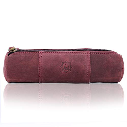 Birch Vintage Leather Pencil Case with Zipper, Handmade Full grain Leather Stationery Art Supplies College Office Pencil Holder Pen Case Pouch Unisex Burgandy color