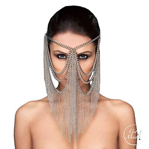 HJG Mardi Gras masker voor vrouwen en Fringe Masquerade Masker, Buik Dans Kostuum Hoofddeksel,Sexy Veil Masker voor Nightclub