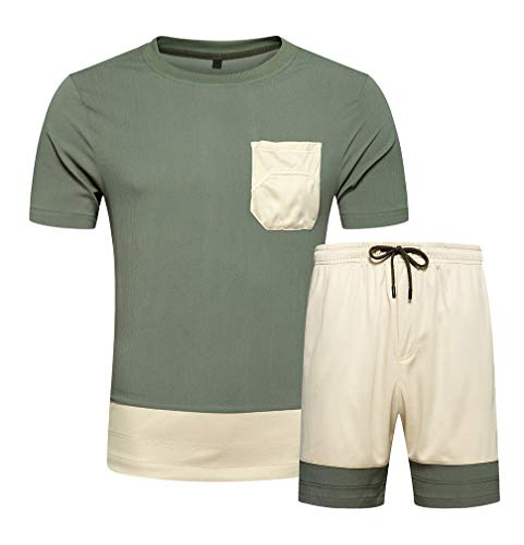 DOINLINE Men's Tracksuit 2 Piece Outfit Summer Short Sleeve T-Shirt and Shorts Set Casual Sports Jogging Suit Green L