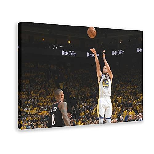 Stephen Curry - Póster de baloncesto americano de 3 puntos con 13 carteles de lona para decoración de dormitorio, paisaje, oficina, habitación, marco de regalo, 40 x 60 cm