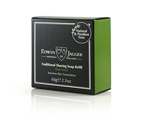 Edwin Jagger 99.9{307d915d1aa3448aa86a9b8b0a9aa4b8aca20588b8afd209e78a412c2d306c7e} Natural Aloe Vera Rasierseife in Reisedose, 65 g, 1er Pack (1 x 65 g)