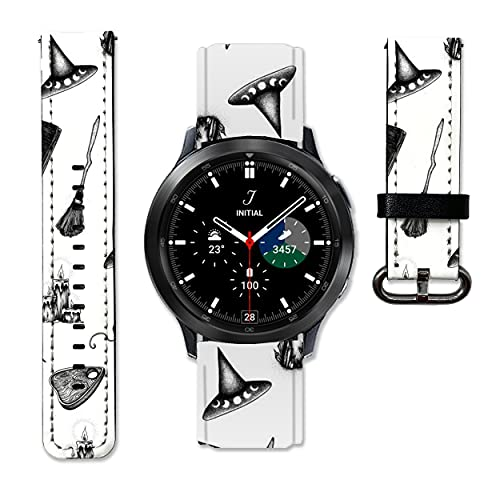 Witch Halloween Leather Strap compatible with Samsung Galaxy Watch4 Active 2 40mm 44mm Galaxy Watch4 Classic Active 2 42mm 46mm Galaxy Watch 3 Active 2 40mm 41mm 42mm 45mm 46mm Gear S3 S2 and other watches 20 and 22mm wristband straps leather bands 10 (20 mm)