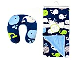 lollypop Boy or Girl Blue Whale Print Design Baby Super Soft Plush Reverse to Sherpa Blanket & U-Neck Pillow Travel Gift Set.