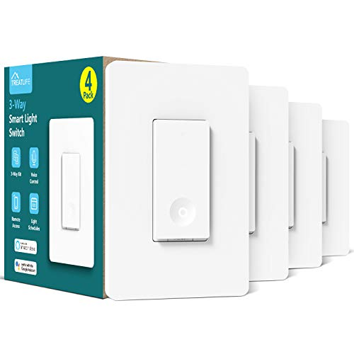 3-way Smart Light Switch,Treatlife WiFi Light Switch Single Pole/3-way Switch Works With Alexa, Google Assistant, Remote Control, ETL, Schedule, No Hub Required, Neutral Wire Required,4 PACK