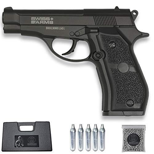 Pistola Swiss Arms P84 (Full Metal) | Arma Tipo Beretta M84FS de balines BB's de Acero de Aire comprimido (CO2) Calibre 4.5mm + maletín y munición