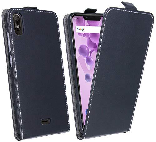 cofi1453 Flip Hülle kompatibel mit WIKO View 2 GO Handy Tasche vertikal aufklappbar Schutzhülle Klapp Hülle Schwarz