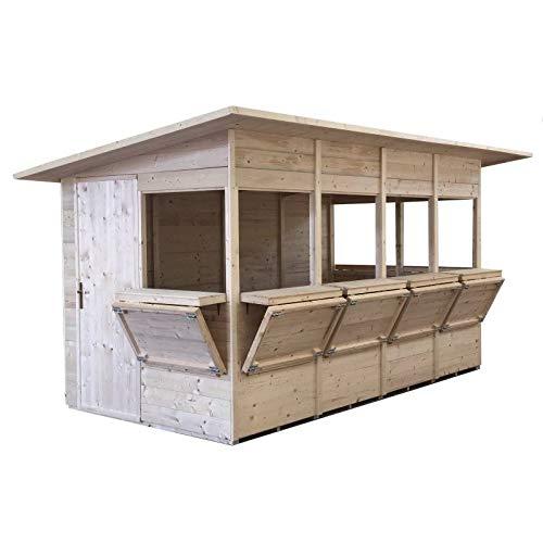 Home Idea Italia, Chiosco in Legno Shop 468 x 242 cm 7 Ante, Pavimento e Ardesia Inclusi