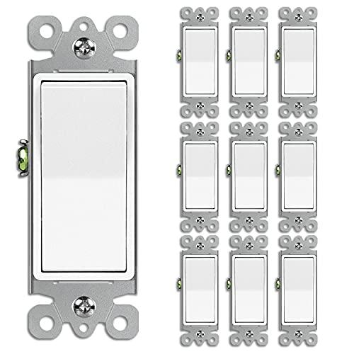 [10 Pack] BESTTEN Single-Pole Decorator Wall Light Switch, 15A 120/277V, On/Off Rocker Interrupter, UL Listed, White